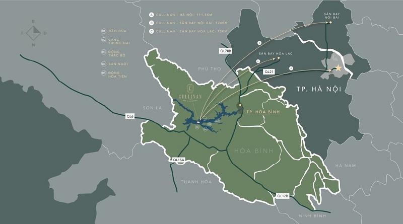 vị trí dự án Cullinan Resort Hòa Bình