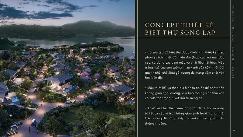 ý tưởng thiết kế biệt thự song lập Cullinan Resort Hòa Bình